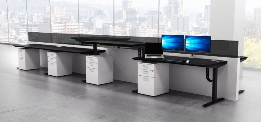 Sit Stand Desk Black Surface Group of Four Desks